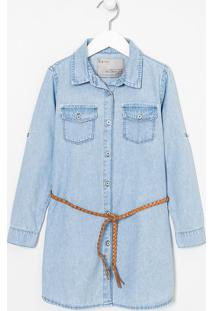 Vestido Infantil Em Jeans Com Cinto Trançado - Tam 5 A 14 Anos