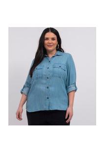 Camisa Liocel Com Bolsos Curve & Plus Size | Ashua Curve E Plus Size | Azul | G