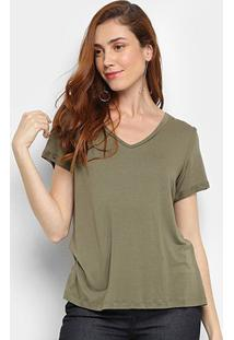 Camiseta Mob Gola V Feminina - Feminino-Verde
