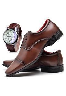 Sapato Social Masculino Db Now Com Relógio Dubuy 807Od Marrom