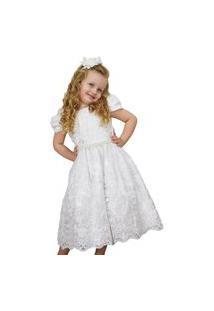 Vestido Infantil Festa Enjoy Kids Luxo Branco