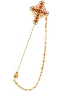 Dolce & Gabbana Broche Com Pendente De Crucifixo - Dourado