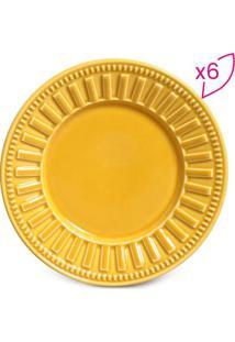 Jogo De Pratos Para Sobremesa Parthenon- Amarelo Escuro