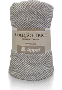 Manta Appel Tricô - Chevron Bege - Tricae