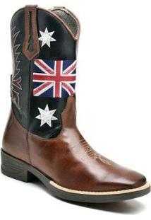 Bota Texana Ded Calçados Bico Quadrado Cano Longo Bordado Uk Masculina - Masculino-Marrom