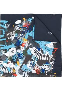 Kenzo Echarpe De Seda Com Estampa - Azul