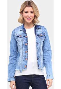 Jaqueta Jeans Ecxo Estonada Barra Desfiada Feminina - Feminino-Azul Claro