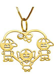 Gargantilha Em Ouro Galeria Degraus Redonda Com Brilhantes - Gg15010
