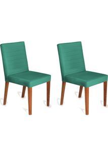 Conjunto Com 2 Cadeiras Dóris Veludo Verde