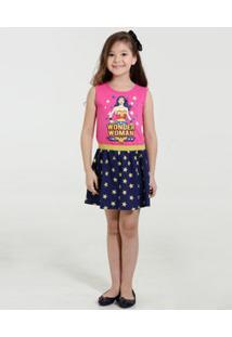 Vestido Infantil Mulher Maravilha Liga Da Justiça