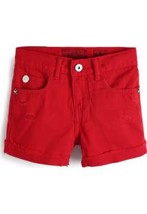 Bermuda Jeans Ellus Kids Menina Liso Vermelha