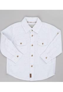 Camisa Infantil Com Bolsos Manga Longa Off White