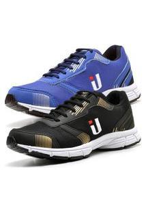 Kit 2Tênis Ousy Shoes Fitness Easy Masculino Azul Dourado
