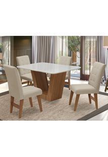 Conjunto De Mesa Para Sala De Jantar Com 4 Cadeira Veneza-Dobue - Cedro / Branco Off / Bege Vlp