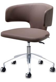 Cadeira Hug Assento Linho Trufa Com Base Rodizio Em Aluminio - 46921 - Sun House