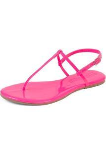 Rasteira Neon Mercedita Shoes Verniz Feminina - Feminino-Rosa