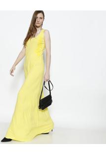 Vestido Longo Com Bordado - Amarelo - Puscopusco