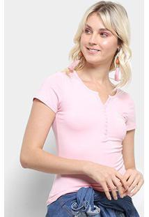 Camiseta Top Moda Botões Bolso Feminina - Feminino-Pink