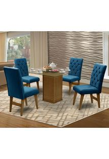 Mesa Para Sala De Jantar Saint Louis Com 4 Cadeiras – Dobuê Movelaria - Mell / Royal