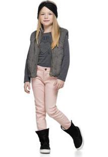 Colete Infantil Pelo Quimby Feminino - Feminino-Cinza