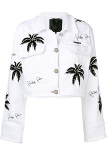 Philipp Plein Palm Tree Denim Jacket - Branco