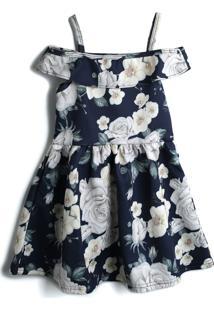 Vestido Milon Floral Azul-Marinho