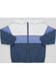 Jaqueta Corta Vento Infantil Com Recortes E Capuz Azul