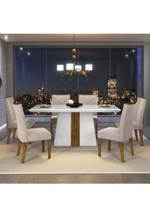 Mesa Itália 1,70M + 6 Cadeiras Golden Sued Pena Bege - Branco Com Demolição
