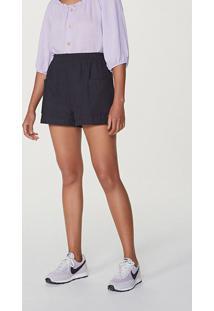 Shorts Feminino Cintura Alta Em Tecido Rústico De Algodão