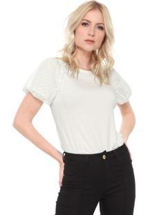 Camiseta Carmim Tulipa Off-White