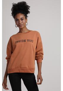 """Blusão De Moletom Feminino Com Bordado """"Inside You"""" Decote Redondo Caramelo"""