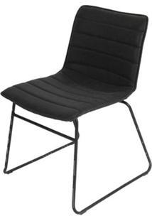 Cadeira Budd Assento Courino Preto Com Base Aco Preto - 53158 - Sun House