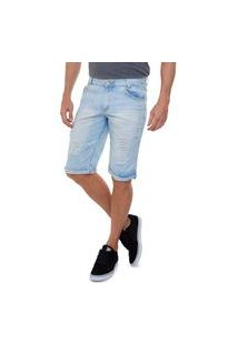 Bermuda Jeans Delavê Rasgada Na Cocha Masculino Azul Claro