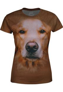 Camiseta Baby Look Golden Retriver Over Fame Marrom
