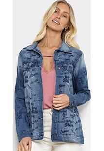 Jaqueta Jeans Mucs Over Estampada Feminina - Feminino