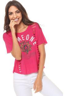 Camiseta Coca-Cola Jeans Estampada Recortes Pink