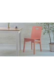 Cadeira Sala De Jantar De Madeira Tucupi Laca Rosa Coral 40X51X81Cm