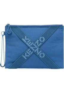 Kenzo Clutch Grande Com Logo - Azul