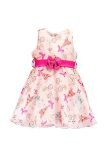 Vestido Infantil Pipoca Doce Crepe Leve Rosa