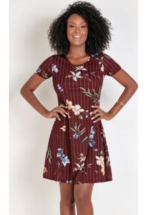Vestido Evasê Com Estampa Floral