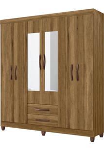 Guarda-Roupa Casal Com Espelho Ambar 6 Pt 2 Gv Amendoa