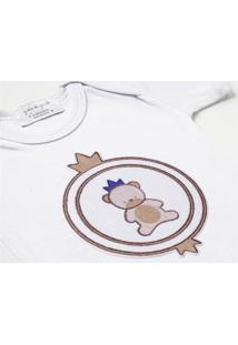 Body Bebê Menino Urso Teddy Realeza Malha Rn Grão De Gente Bege
