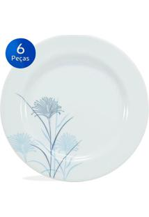 Conjunto Pratos Sobremesa Karina 6 Peças - Schmidt - Branco / Azul