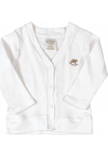 Casaco Up Baby Básico Longa Em Suedine Branco Branco