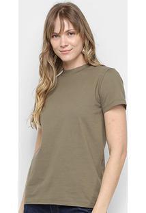 Camiseta Colcci Alongada Estampa Costas Feminina - Feminino-Verde Escuro