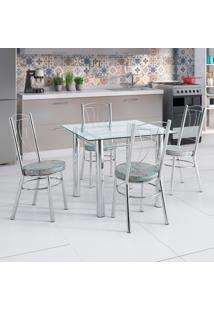 Conjunto De Mesa De Cozinha Com Tampo De Vidro E 4 Lugares Loures Corino Incolor E Colorido