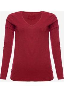 Camiseta Manga Longa Aleatory Feminina - Feminino-Vermelho
