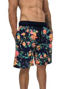 Bermuda Masculina Alto Conceito Moletom Floral