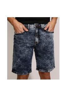 Bermuda Jeans Masculina Slim Marmorizada Com Bolsos Azul Escuro