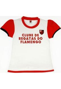 Baby Look Reve D'Or Sport Glitter Flamengo Branca, Vermelha E Preta